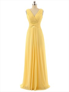 Yellow Chiffon Criss Cross V-neck Sleeveless Ruched Bridesmaid Dress