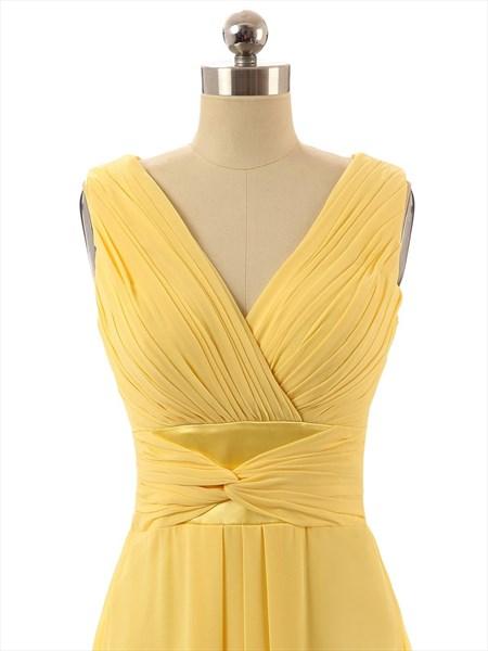 Yellow Chiffon Criss Cross V-neck Sleeveless Ruched Bridesmaid Dress