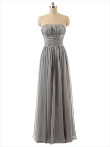 Grey Strapless Chiffon Ruched Bodice Bridesmaid Dress With Beaded Waist
