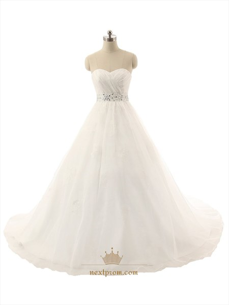 Strapless Sweetheart Organza Beaded Waist Wedding Dress With Ribbon