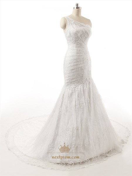 One Shoulder Mermaid Lace Overlay Court Train Wedding Gown With Ruching