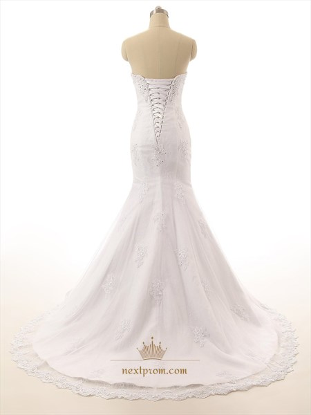 Mermaid Strapless Sweetheart Beaded Neckline Lace Applique Wedding Gown