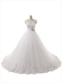 Sheer Lace Bodice Cap Sleeves Ball Gown Wedding Dress With Chapel Train