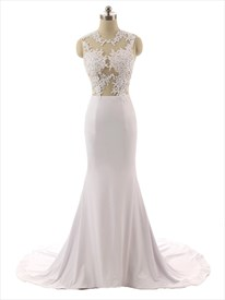 Captivating Sheer Illusion Bodice Floral Applique Mermaid Wedding Dress