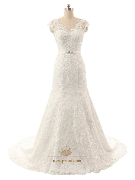 Sheer Illusion Neckline Lace Overlay Cap Sleeves Mermaid Wedding Dress
