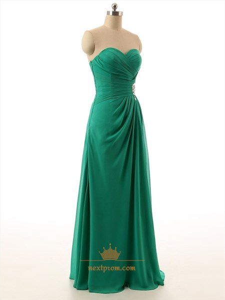 Sea Green Strapless Sweetheart Chiffon Pleated Bodice Dress With Split