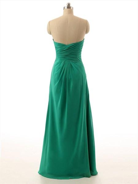 Sea Green Strapless Sweetheart Chiffon Pleated Bodice Dress With Split
