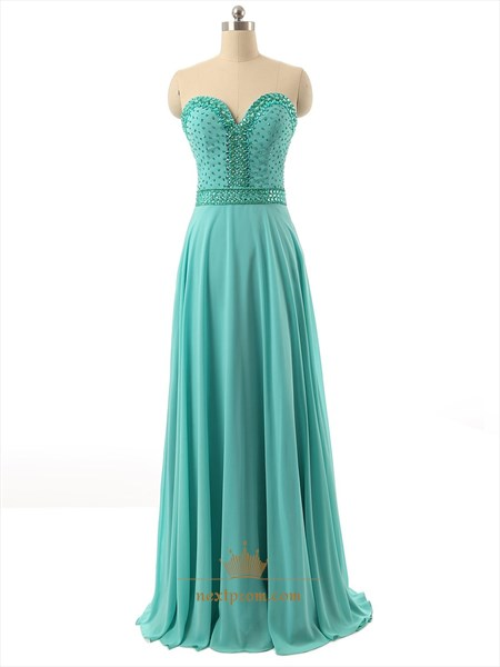 Turquoise Blue Chiffon Strapless Sweetheart Beaded Bodice Evening Dress