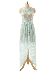 Light Blue And Gold Sleeveless High Low Party Dress With Lace Overlay