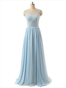 Sky Blue Chiffon Beaded Bodice Prom Dress With Sheer Illusion Neckline