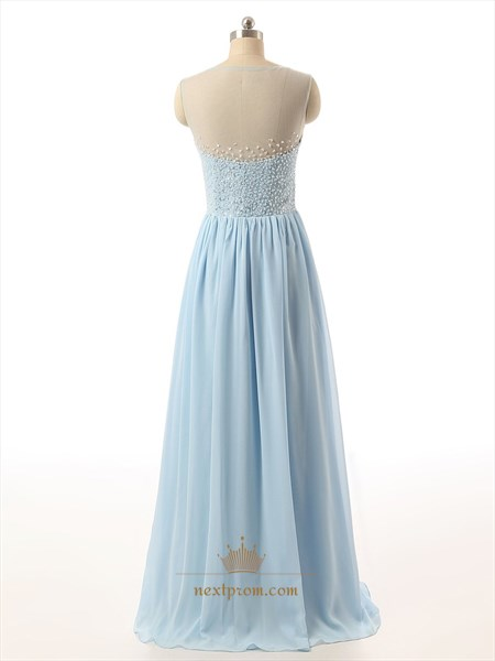 Sky Blue Chiffon Beaded Bodice Prom Dress With Sheer Illusion Neckline