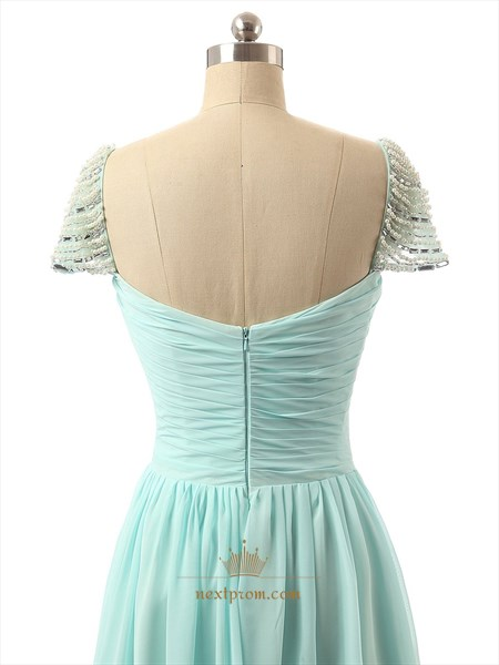 Light Green Chiffon Beaded Cap Sleeve Evening Dress With Twist Front