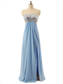 Sky Blue Sequined Bodice Side Cut Out Dress With Slits And Open Back