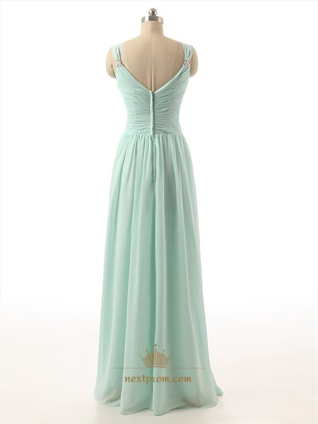 Mint Green Chiffon Pleated Bodice Ruffle Bridesmaid Dress With Straps