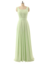 Sage Green Chiffon Ruched Square Neck Sleeveless Bridesmaid Dress