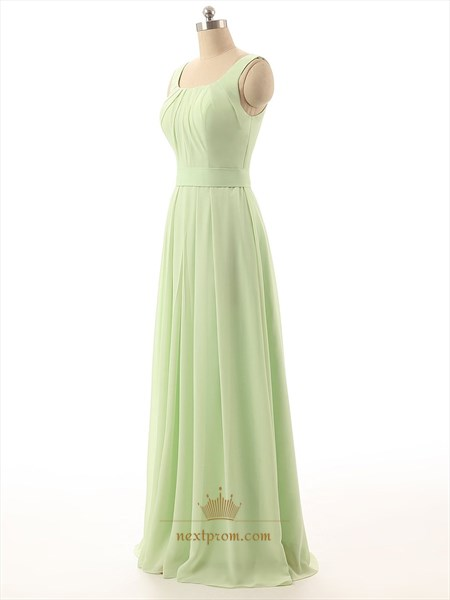 Sage Green Chiffon Ruched Square Neck Sleeveless Bridesmaid Dress