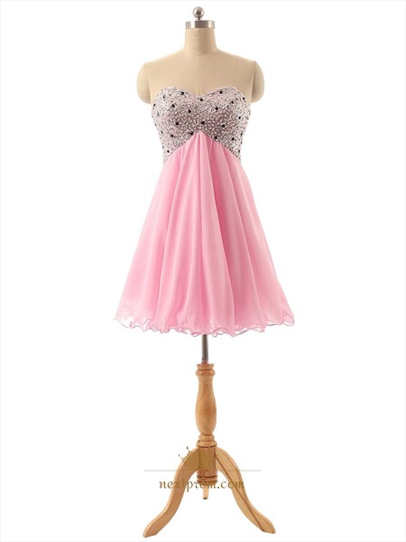 Pink Sweetheart Beaded Bodice Homecoming Dress With Lace Up Back