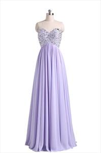 Violet Chiffon Strapless Sweetheart Beaded Bodice Ruffle Prom Dress