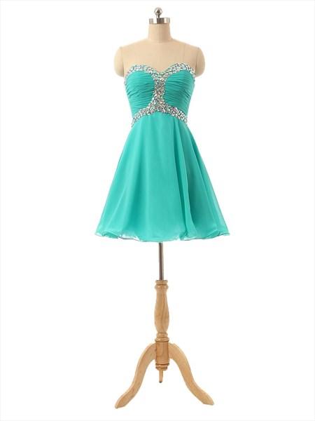 Mint Green Strapless Chiffon Beaded Embellished Short Bridesmaid Dress