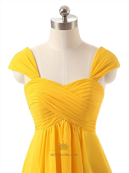 Yellow A-line Chiffon Ruched Bodice Homecoming Dress With Cap Sleeves