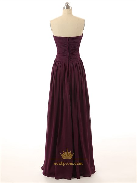Burgundy Sweetheart Chiffon Bridesmaid Dress With Criss-cross Bodice