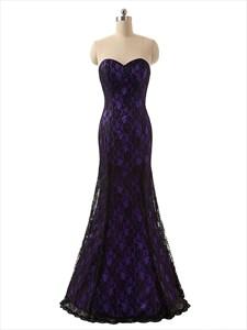 Elegant Purple Strapless Mermaid Prom Dress With Black Lace Overlay
