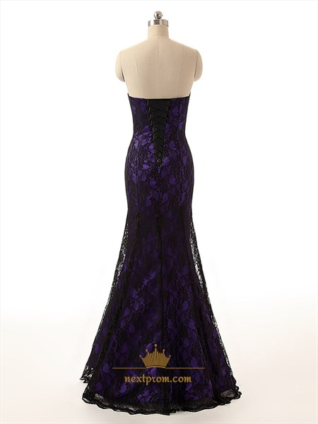 Elegant Purple Strapless Mermaid Prom Dress With Black Lace Overlay