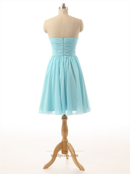 Baby Blue Strapless Sweetheart Chiffon Ruched Short Bridesmaid Dress