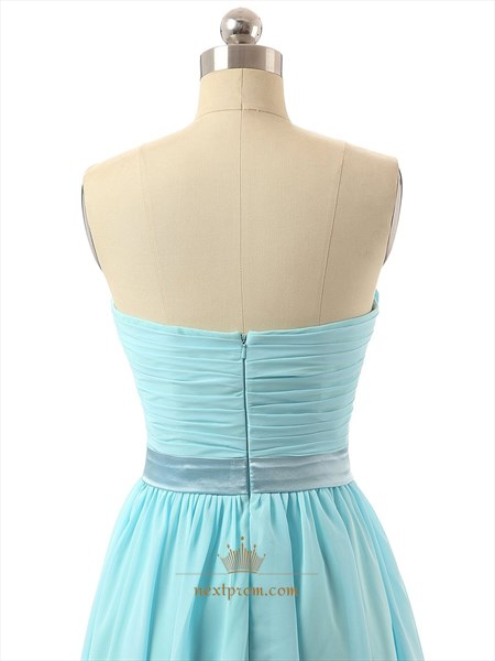 Baby Blue Strapless Pleated Bodice Chiffon Bridesmaid Dress With Sash