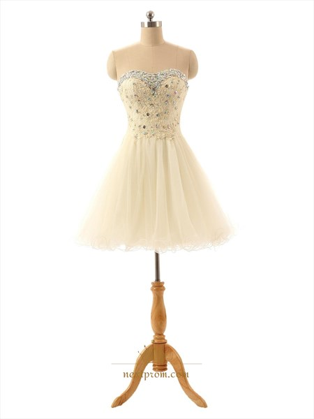 Champagne Sweetheart Rhinestone Jewel Neckline Lace Bodice Homecoming Dress