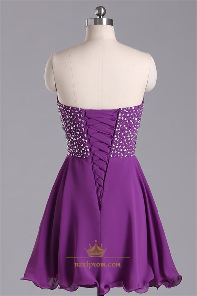 Purple Strapless Beaded Bodice Chiffon Bridesmaid Dress With Lace Up Back