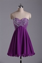 Purple Knee Length Strapless Chiffon Rhinestone Bodice Homecoming Dress