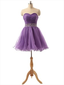 Lavender Short Tulle Pleated Bodice Bridesmaid Dress With Rhinestone Belt