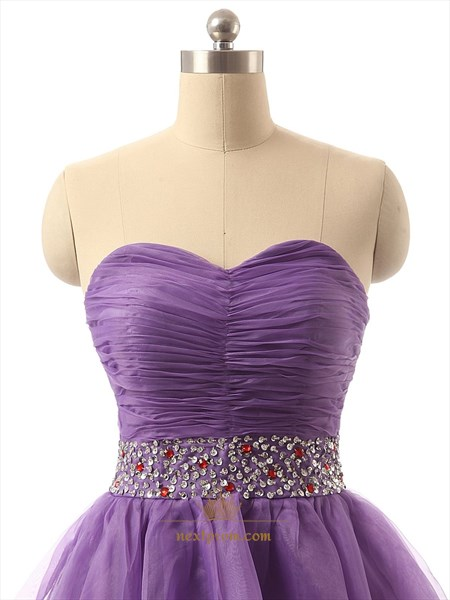 Lavender Short Tulle Pleated Bodice Bridesmaid Dress With Rhinestone Belt