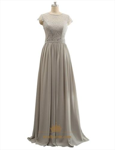 Grey Sheer Lace Bodice Chiffon Ruffle Cap Sleeve Mother Of Bride Dress