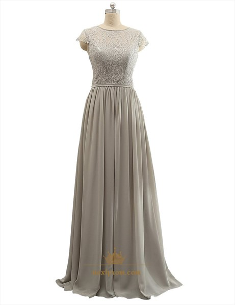 Grey Sheer Lace Bodice Chiffon Ruffle Cap Sleeve Mother Of Bride Dress