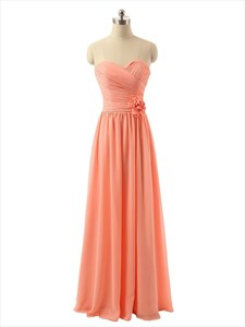 Coral Strapless Chiffon Column Floor-Length Bridesmaid Dress With Flower
