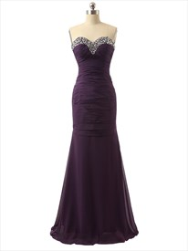 Purple Rhinestone Sweetheart Neckline Ruched Bodice Mermaid Prom Dress