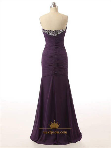 Purple Rhinestone Sweetheart Neckline Ruched Bodice Mermaid Prom Dress