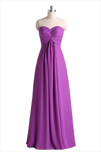 Floor-Length Sweetheart Chiffon Evening Dress With Criss-Cross Bodice
