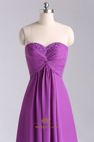 Floor-Length Sweetheart Chiffon Evening Dress With Criss-Cross Bodice