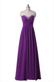 Purple Strapless Beaded Sweetheart Neckline Chiffon Floor Length Prom Dress