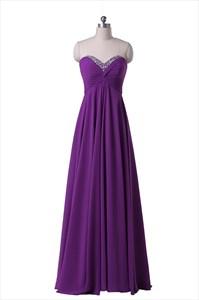 Purple Strapless Beaded Sweetheart Neckline Chiffon Floor Length Prom Dress