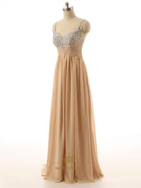 Sleeveless Chiffon Gown With Ruched Bodice And Jeweled Neckline