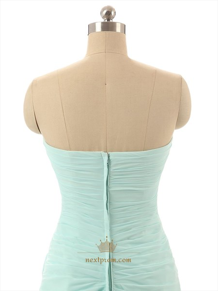 Mint Green Strapless Sweetheart Neckline Chiffon Bridesmaid Dress