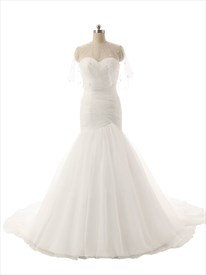 Ivory Strapless Drop Waist Mermaid Wedding Dress With Train