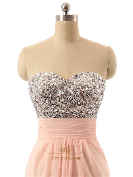 Coral Strapless Sweetheart Neckline Chiffon Rhinestone Dress With Open Back