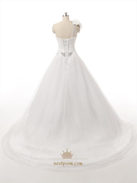 White One Shoulder Bow Tulle Wedding Dress With Beaded Sash And Lace Up Back