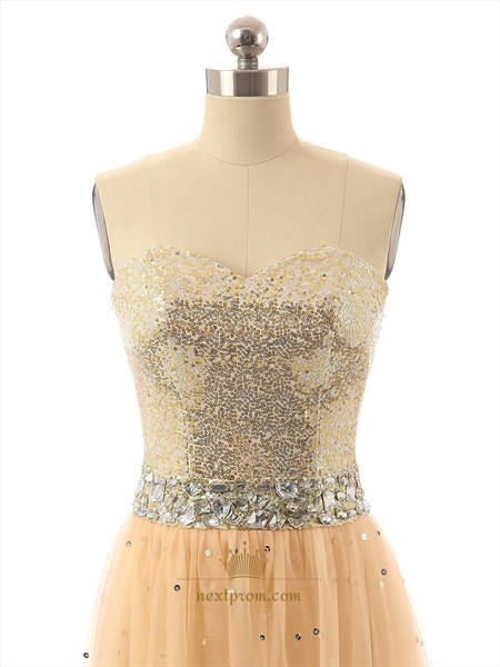 Strapless Sequin Bodice Chiffon Dress With Rhinestone Embellished Waist