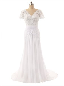 Lace Bodice V-Neckline Short Sleeves Wedding Dress With Chiffon Skirt
